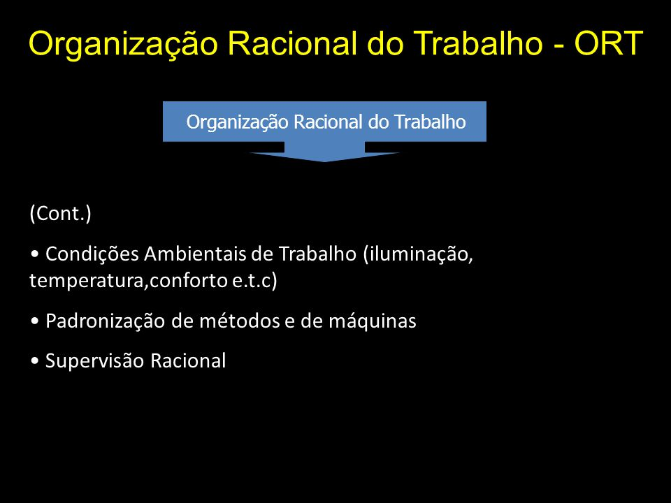 Organização Racional do Trabalho - ORT Organização Racional do Trabalho (Cont.) Condições Ambientais de Trabalho (iluminação, temperatura,conforto e.t.c) Padronização de métodos e de máquinas Supervisão Racional