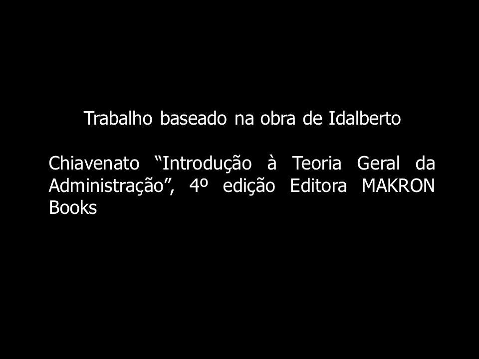 Trabalho baseado na obra de Idalberto Chiavenato Introdução à Teoria Geral da Administração, 4º edição Editora MAKRON Books