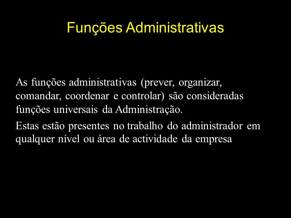 Funções Administrativas As funções administrativas (prever, organizar, comandar, coordenar e controlar) são consideradas funções universais da Administração.