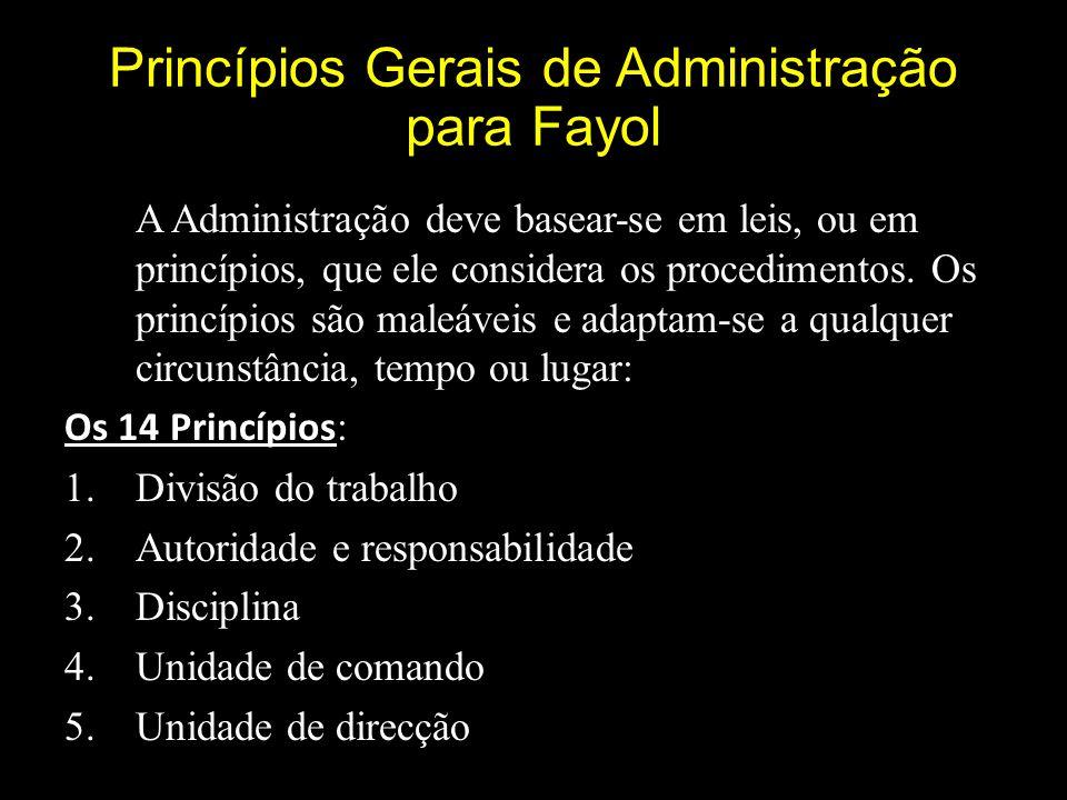Princípios Gerais de Administração para Fayol A Administração deve basear-se em leis, ou em princípios, que ele considera os procedimentos.