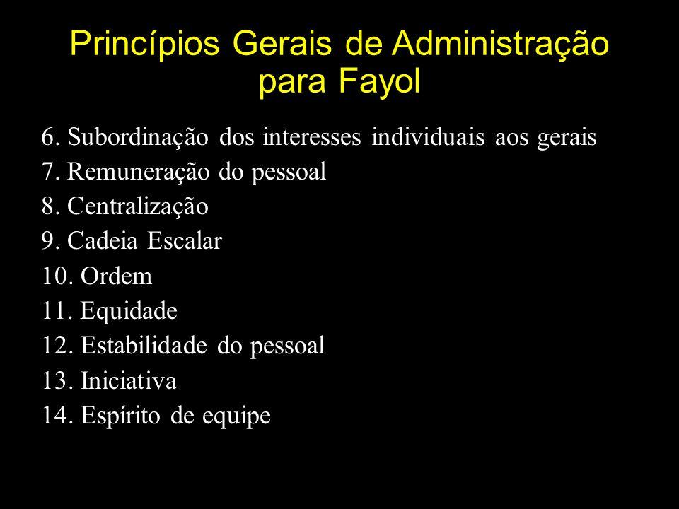 Princípios Gerais de Administração para Fayol 6.