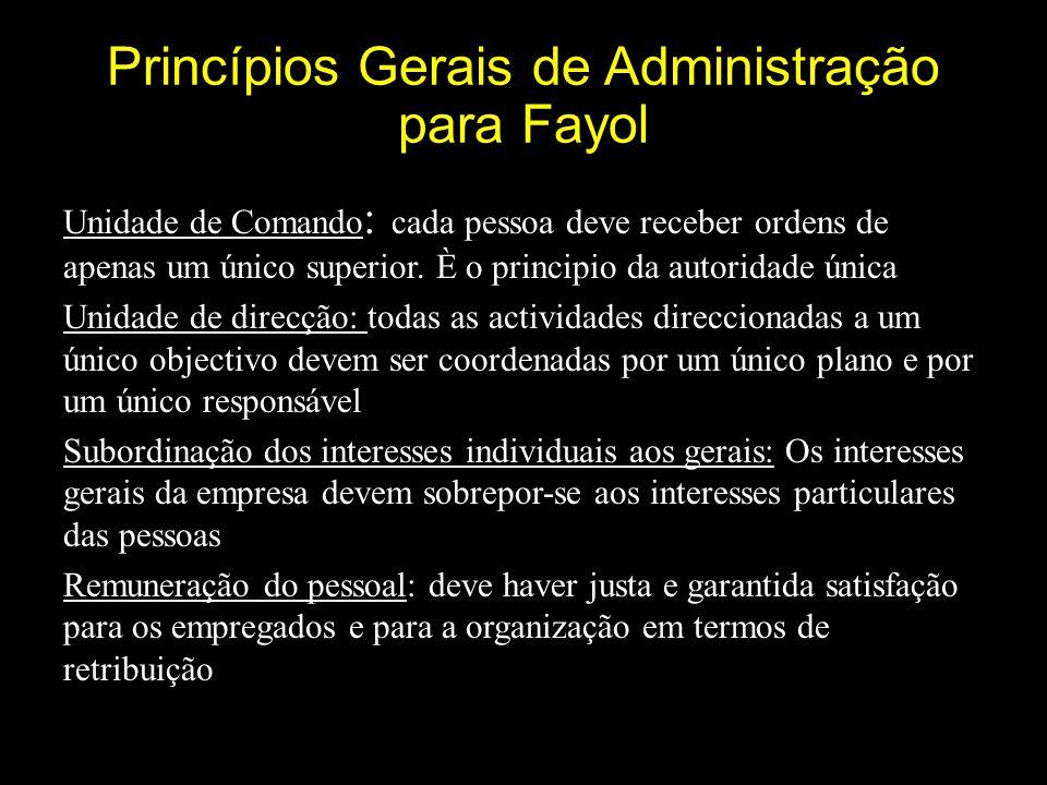 Princípios Gerais de Administração para Fayol Unidade de Comando : cada pessoa deve receber ordens de apenas um único superior.