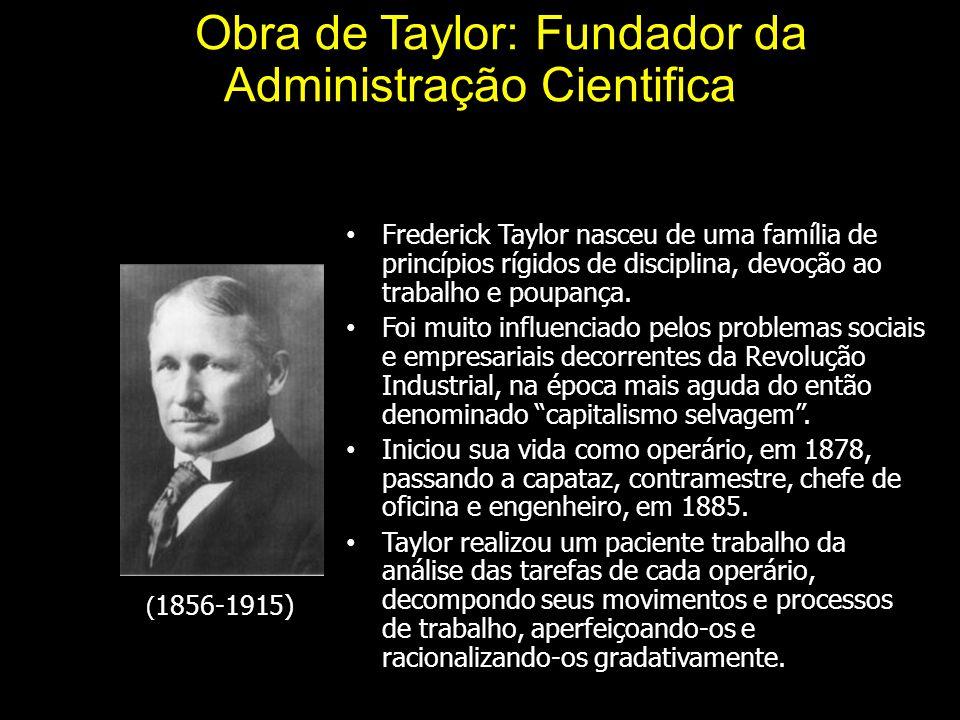 A Obra de Taylor: Fundador da Administração Cientifica Frederick Taylor nasceu de uma família de princípios rígidos de disciplina, devoção ao trabalho e poupança.