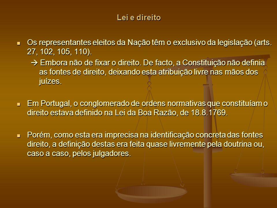 Lei e direito Os representantes eleitos da Nação têm o exclusivo da legislação (arts.