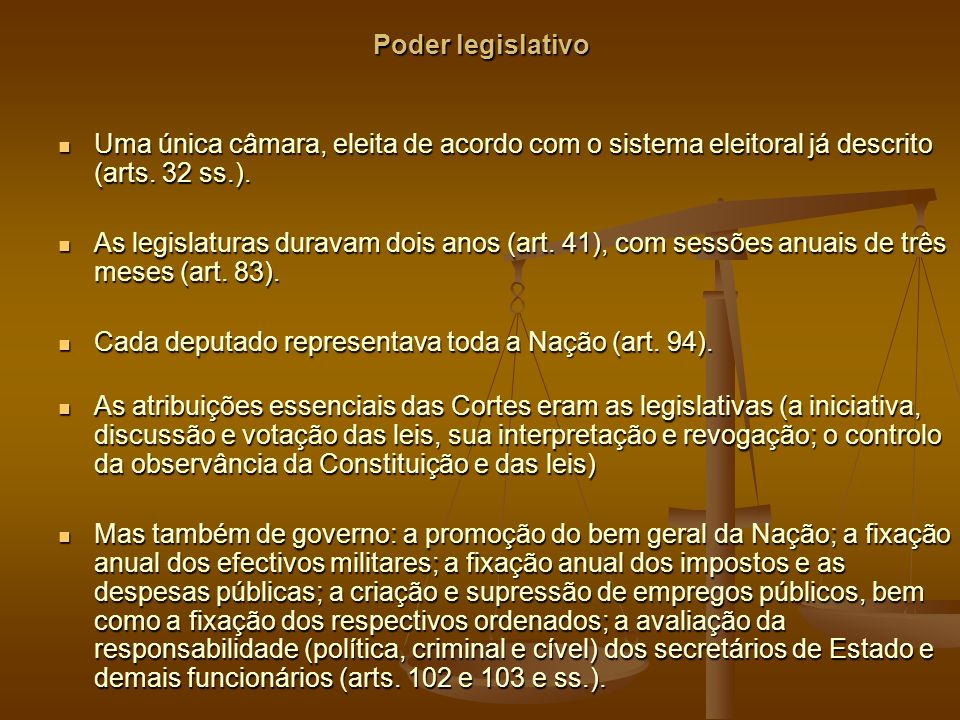 Poder legislativo Uma única câmara, eleita de acordo com o sistema eleitoral já descrito (arts.
