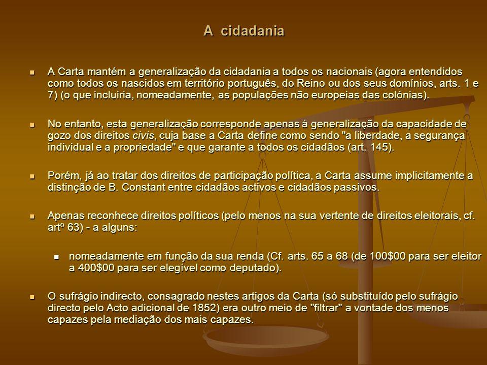 A cidadania A Carta mantém a generalização da cidadania a todos os nacionais (agora entendidos como todos os nascidos em território português, do Reino ou dos seus domínios, arts.