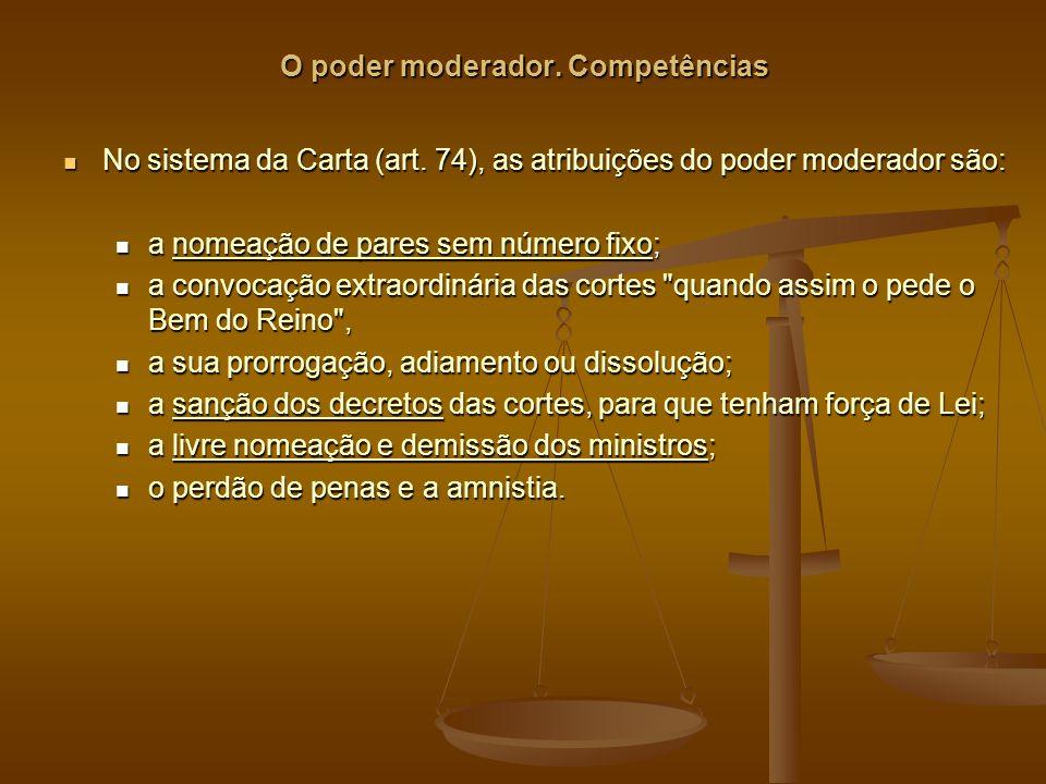 O poder moderador.Competências No sistema da Carta (art.