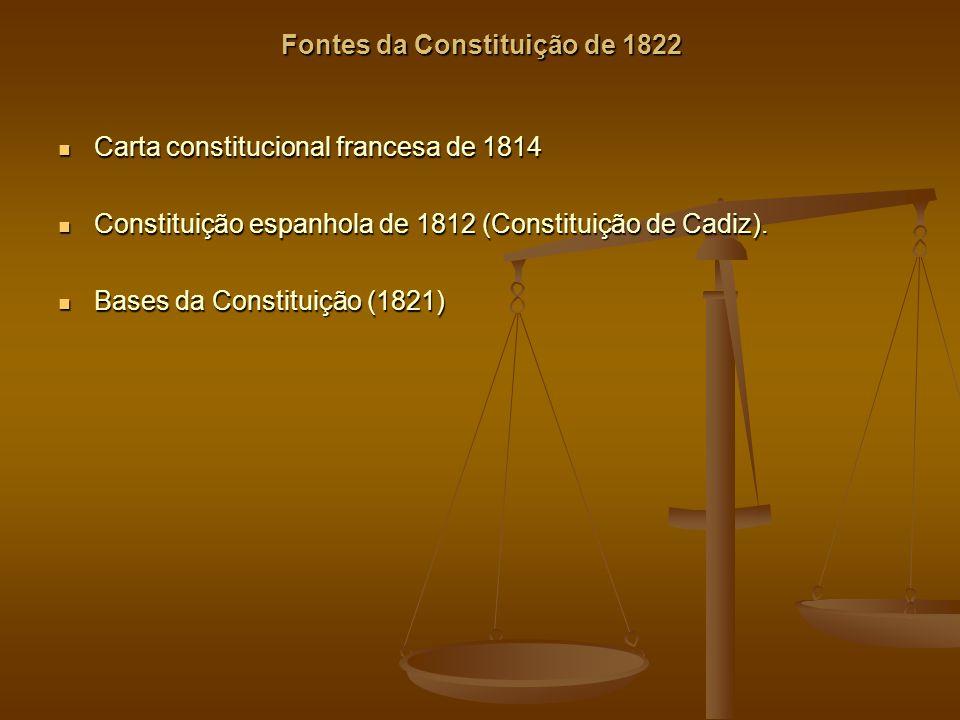 Fontes da Constituição de 1822 Carta constitucional francesa de 1814 Carta constitucional francesa de 1814 Constituição espanhola de 1812 (Constituição de Cadiz).