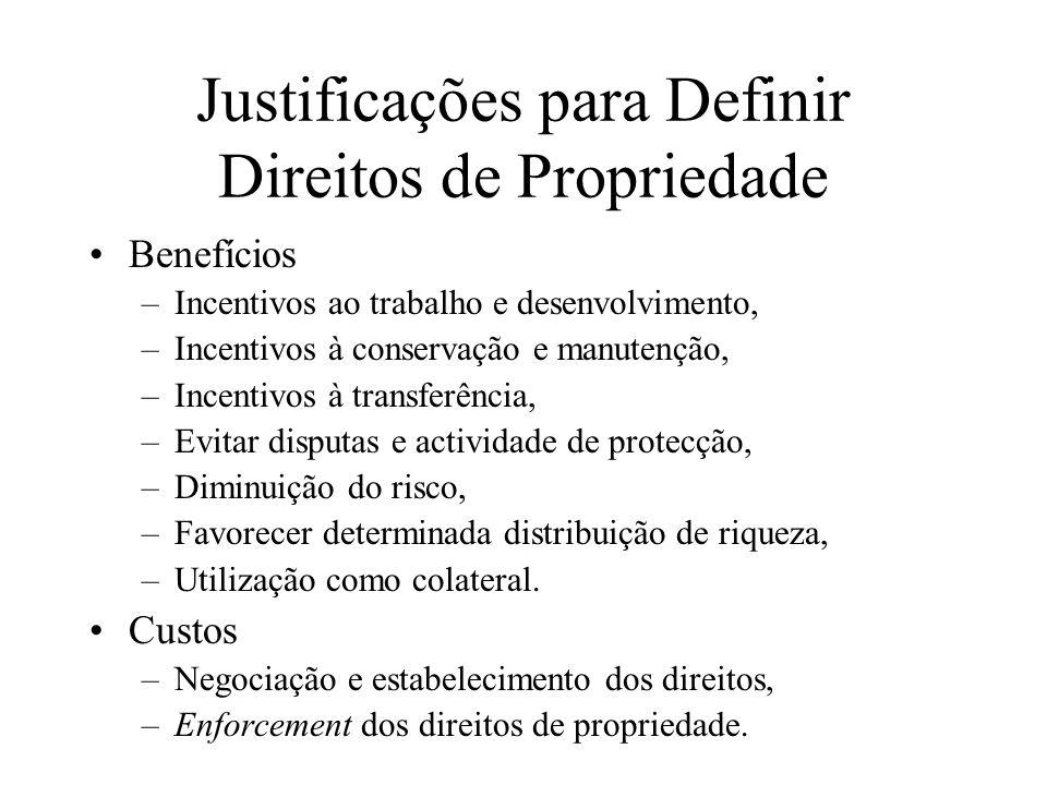 Justificações para Definir Direitos de Propriedade Benefícios –Incentivos ao trabalho e desenvolvimento, –Incentivos à conservação e manutenção, –Ince