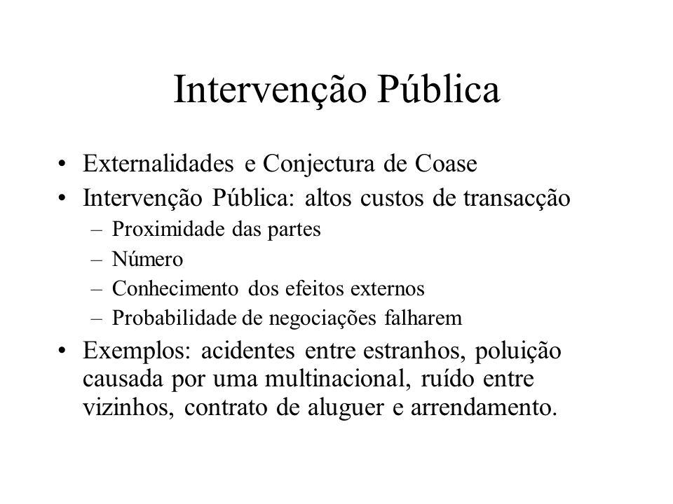 Intervenção Pública Externalidades e Conjectura de Coase Intervenção Pública: altos custos de transacção –Proximidade das partes –Número –Conhecimento