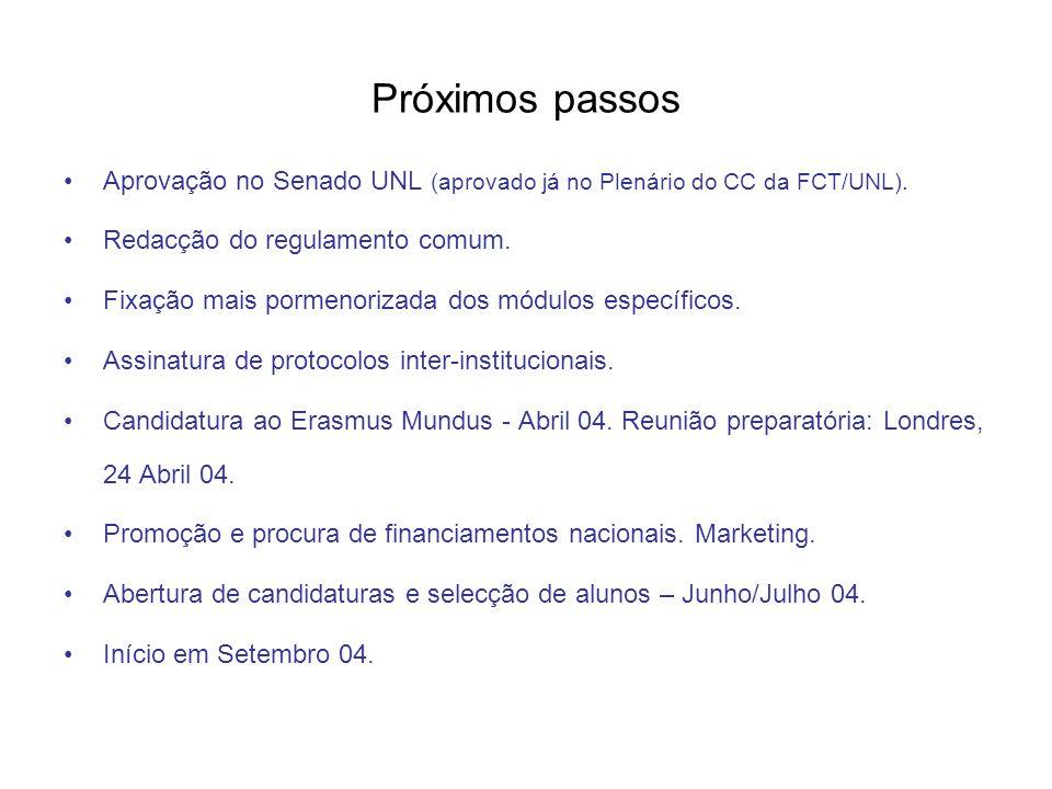 Próximos passos Aprovação no Senado UNL (aprovado já no Plenário do CC da FCT/UNL). Redacção do regulamento comum. Fixação mais pormenorizada dos módu