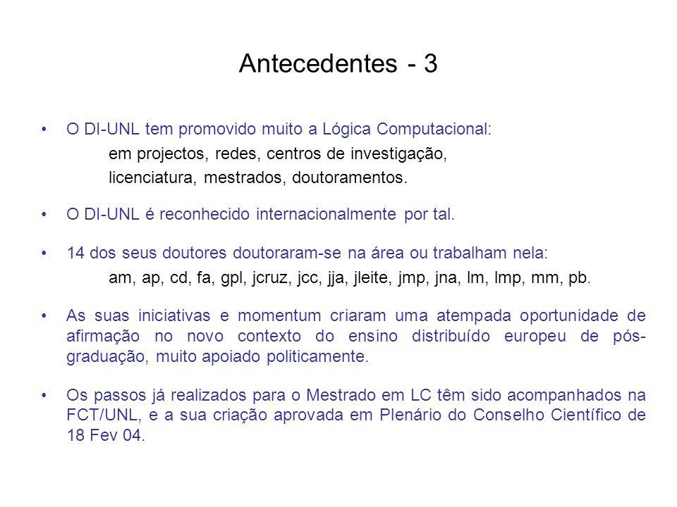 Antecedentes - 3 O DI-UNL tem promovido muito a Lógica Computacional: em projectos, redes, centros de investigação, licenciatura, mestrados, doutoramentos.
