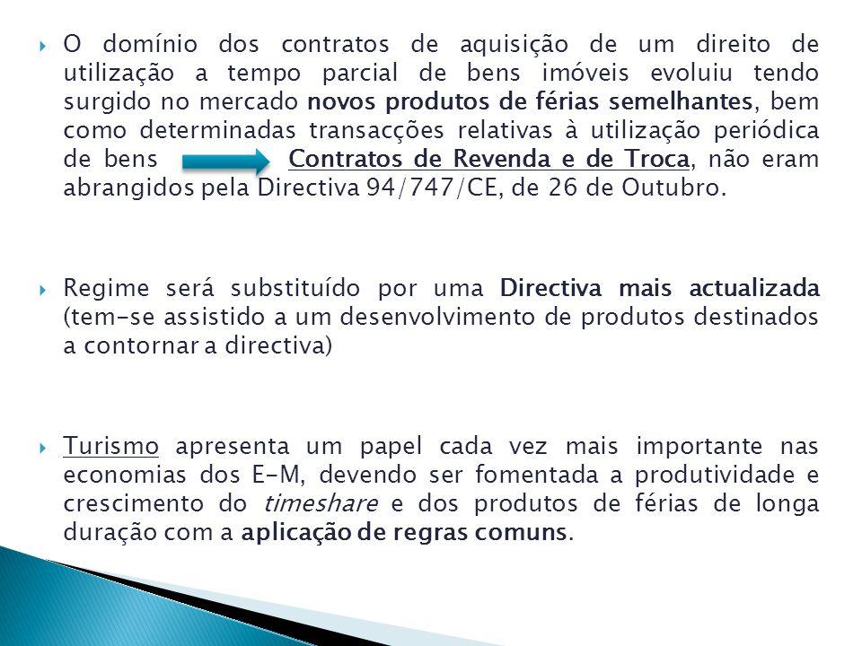 O domínio dos contratos de aquisição de um direito de utilização a tempo parcial de bens imóveis evoluiu tendo surgido no mercado novos produtos de férias semelhantes, bem como determinadas transacções relativas à utilização periódica de bens Contratos de Revenda e de Troca, não eram abrangidos pela Directiva 94/747/CE, de 26 de Outubro.
