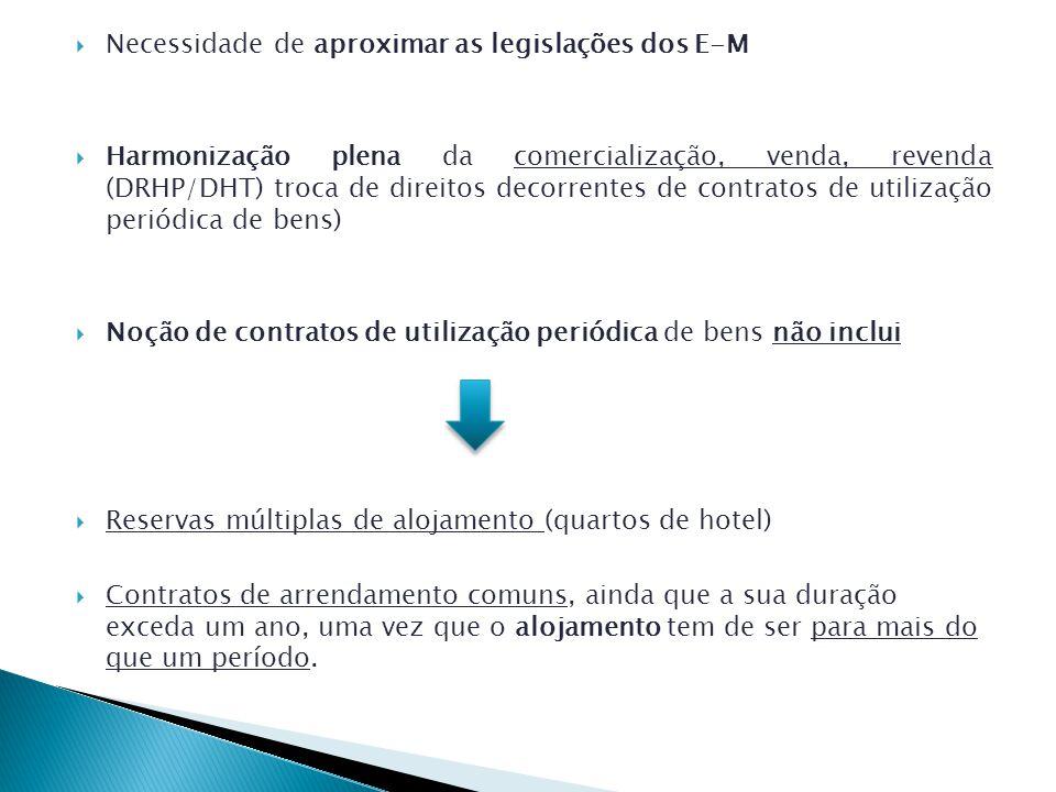 Necessidade de aproximar as legislações dos E-M Harmonização plena da comercialização, venda, revenda (DRHP/DHT) troca de direitos decorrentes de contratos de utilização periódica de bens) Noção de contratos de utilização periódica de bens não inclui Reservas múltiplas de alojamento (quartos de hotel) Contratos de arrendamento comuns, ainda que a sua duração exceda um ano, uma vez que o alojamento tem de ser para mais do que um período.