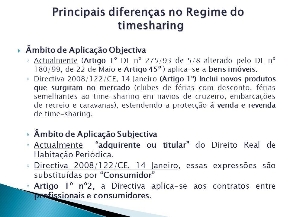 Principais diferenças no Regime do timesharing Principais diferenças no Regime do timesharing Âmbito de Aplicação Objectiva Âmbito de Aplicação Objectiva Actualmente (Artigo 1º DL nº 275/93 de 5/8 alterado pelo DL nº 180/99, de 22 de Maio e Artigo 45º ) aplica-se a bens imóveis.