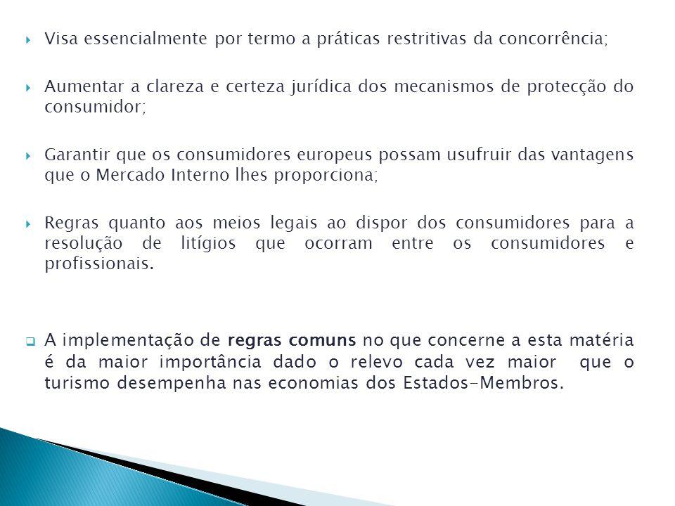 Visa essencialmente por termo a práticas restritivas da concorrência; Aumentar a clareza e certeza jurídica dos mecanismos de protecção do consumidor; Garantir que os consumidores europeus possam usufruir das vantagens que o Mercado Interno lhes proporciona; Regras quanto aos meios legais ao dispor dos consumidores para a resolução de litígios que ocorram entre os consumidores e profissionais.
