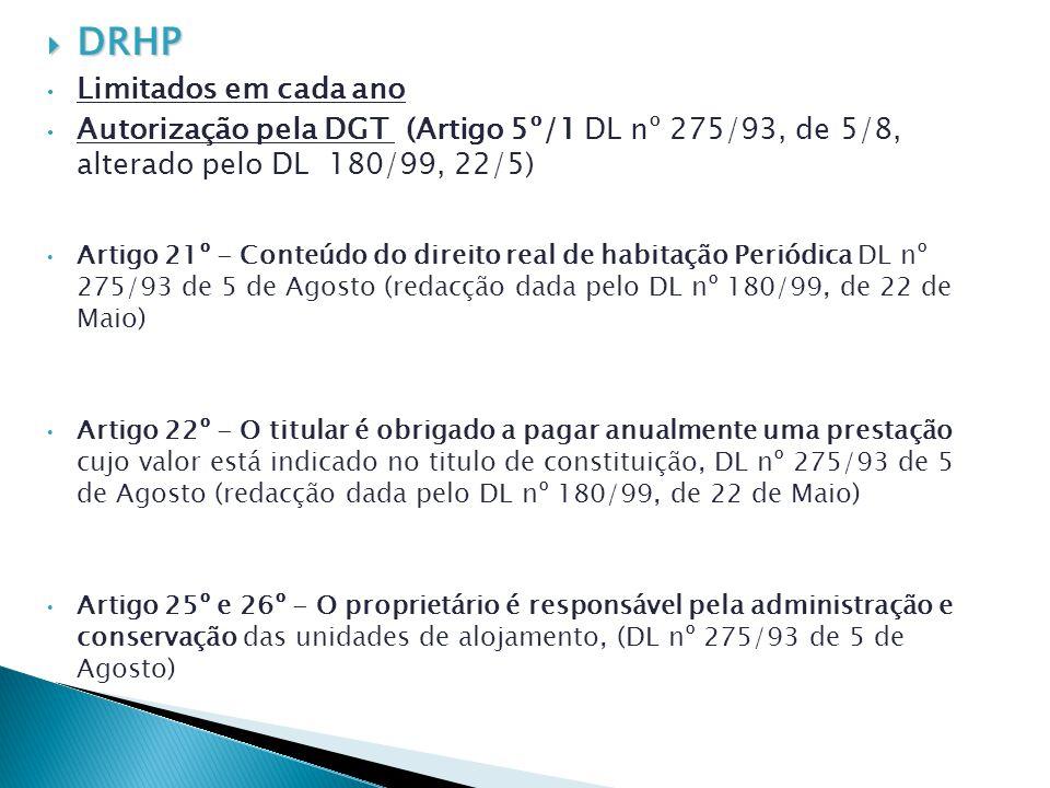 DRHP DRHP Limitados em cada ano Autorização pela DGT (Artigo 5º/1 DL nº 275/93, de 5/8, alterado pelo DL 180/99, 22/5) Artigo 21º - Conteúdo do direit