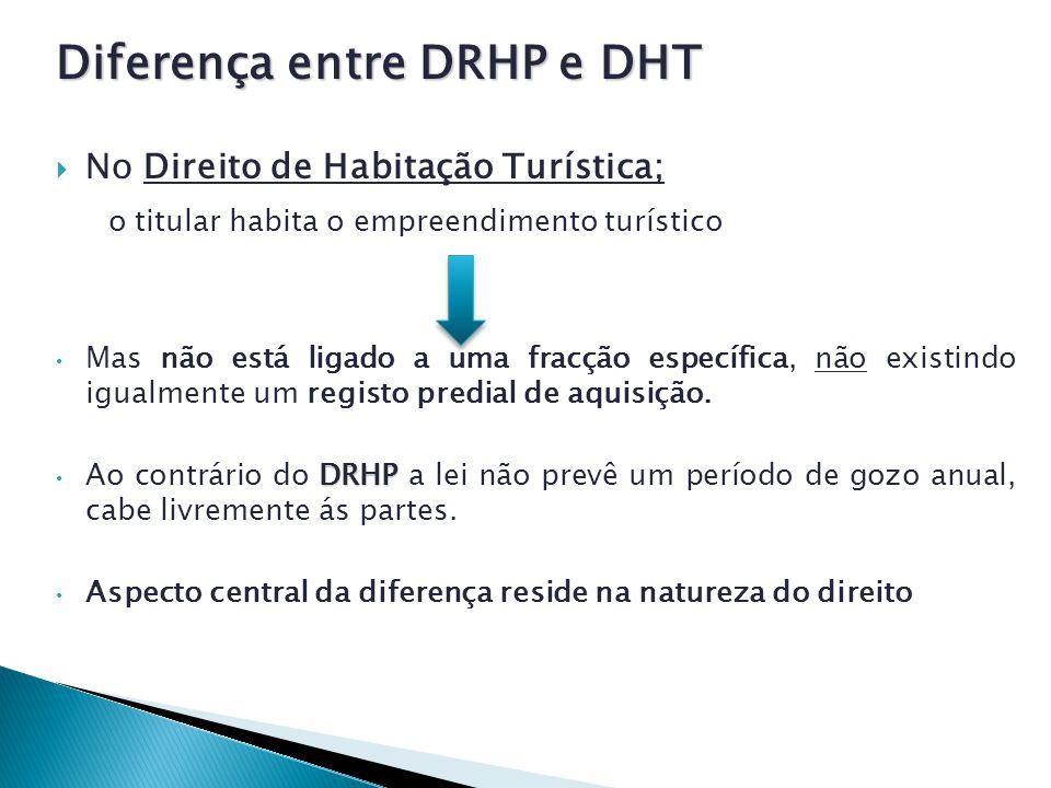Diferença entre DRHP e DHT No Direito de Habitação Turística; o titular habita o empreendimento turístico Mas não está ligado a uma fracção específica, não existindo igualmente um registo predial de aquisição.