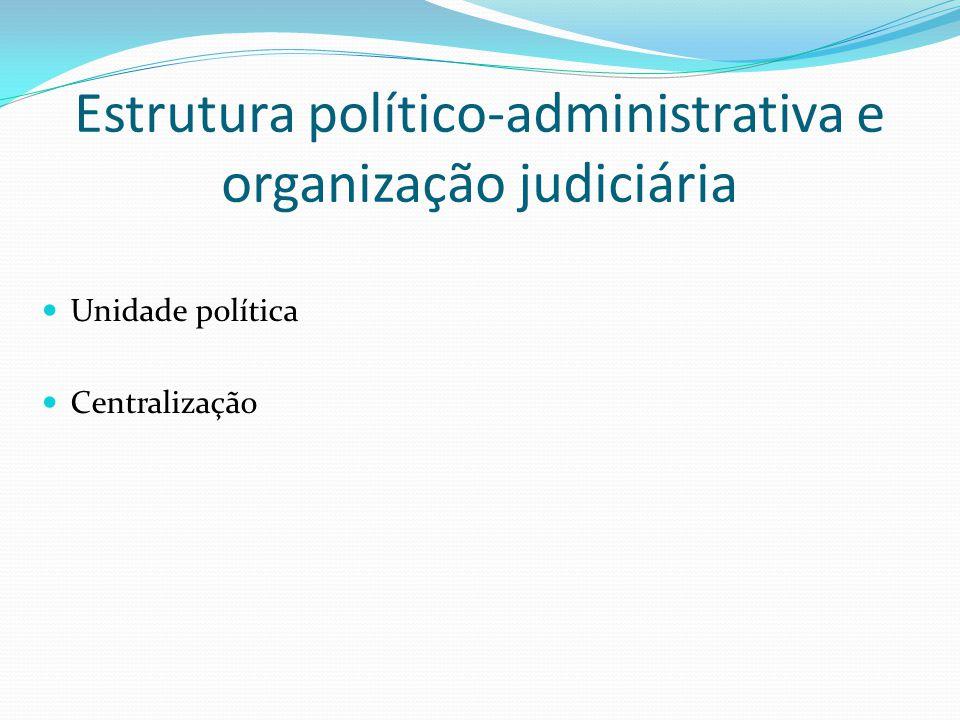 Estrutura político-administrativa e organização judiciária Unidade política Centralização