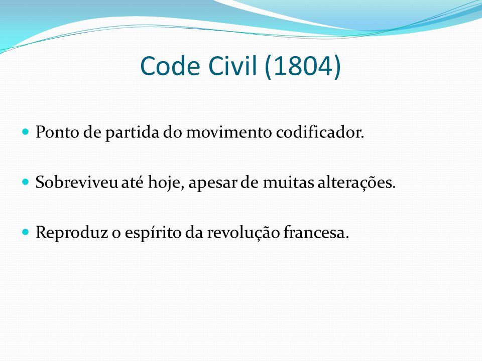 Code Civil (1804) Ponto de partida do movimento codificador. Sobreviveu até hoje, apesar de muitas alterações. Reproduz o espírito da revolução france