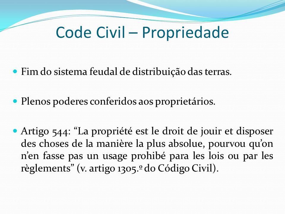 Code Civil – Propriedade Fim do sistema feudal de distribuição das terras. Plenos poderes conferidos aos proprietários. Artigo 544: La propriété est l