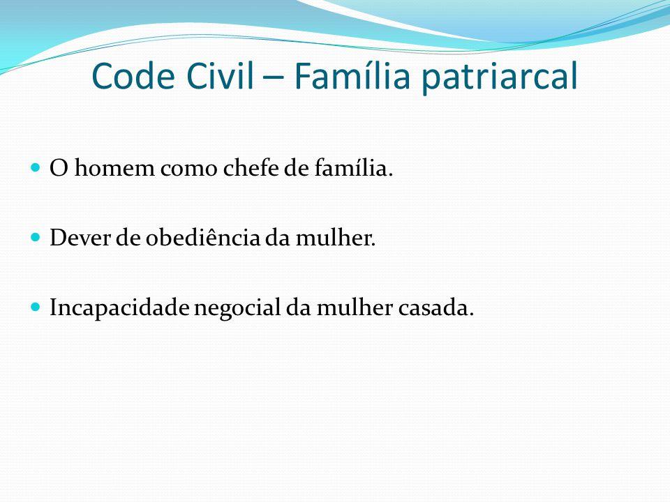 Code Civil – Família patriarcal O homem como chefe de família. Dever de obediência da mulher. Incapacidade negocial da mulher casada.