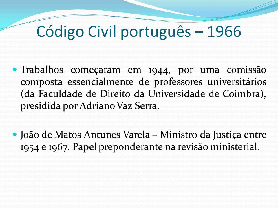 Código Civil português – 1966 Trabalhos começaram em 1944, por uma comissão composta essencialmente de professores universitários (da Faculdade de Dir