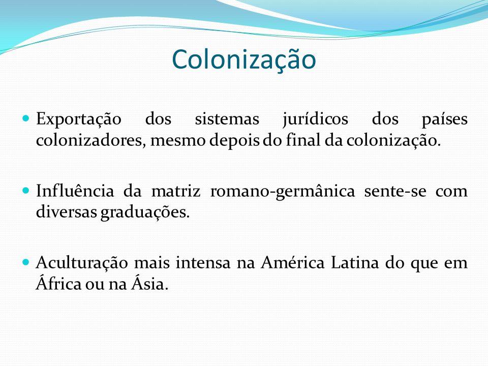Colonização Exportação dos sistemas jurídicos dos países colonizadores, mesmo depois do final da colonização. Influência da matriz romano-germânica se