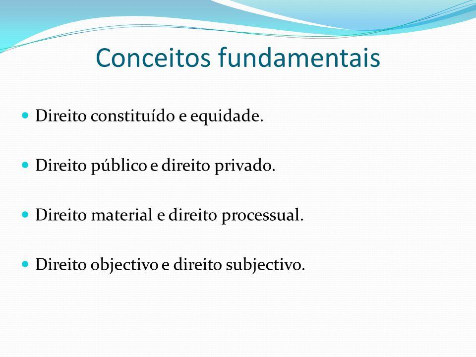 Conceitos fundamentais Direito constituído e equidade. Direito público e direito privado. Direito material e direito processual. Direito objectivo e d