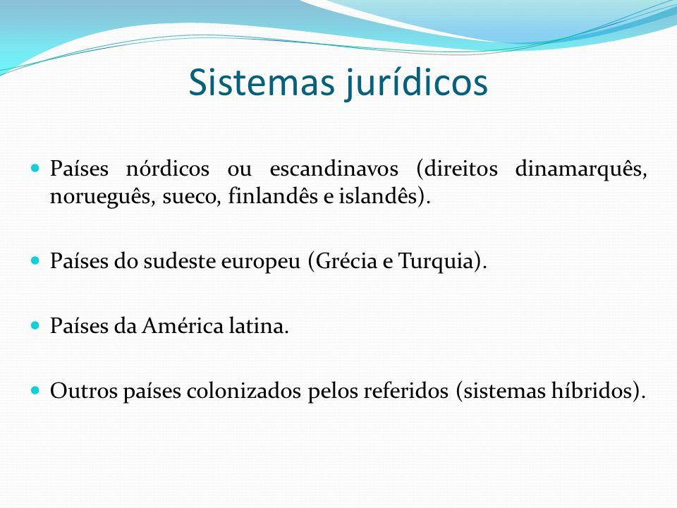 Sistemas jurídicos Países nórdicos ou escandinavos (direitos dinamarquês, norueguês, sueco, finlandês e islandês). Países do sudeste europeu (Grécia e