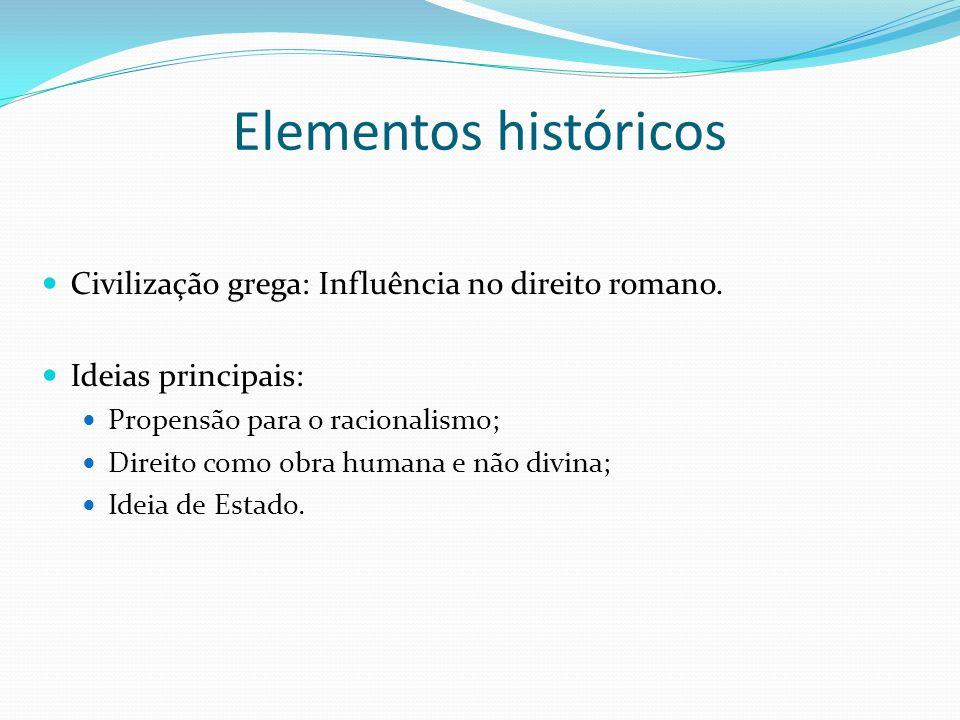 Elementos históricos Civilização grega: Influência no direito romano. Ideias principais: Propensão para o racionalismo; Direito como obra humana e não