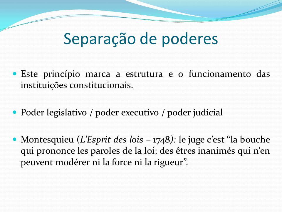 Separação de poderes Este princípio marca a estrutura e o funcionamento das instituições constitucionais. Poder legislativo / poder executivo / poder