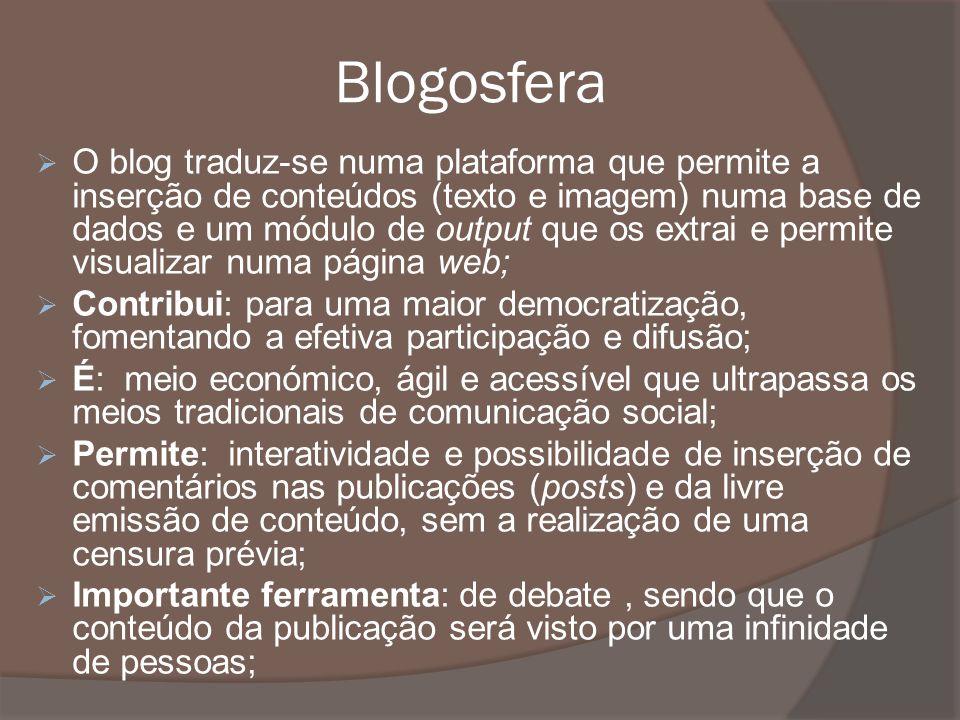 Blogosfera O blog traduz-se numa plataforma que permite a inserção de conteúdos (texto e imagem) numa base de dados e um módulo de output que os extra