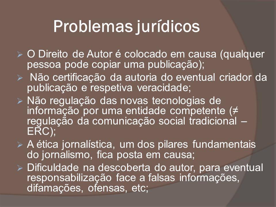 Problemas jurídicos O Direito de Autor é colocado em causa (qualquer pessoa pode copiar uma publicação); Não certificação da autoria do eventual criad