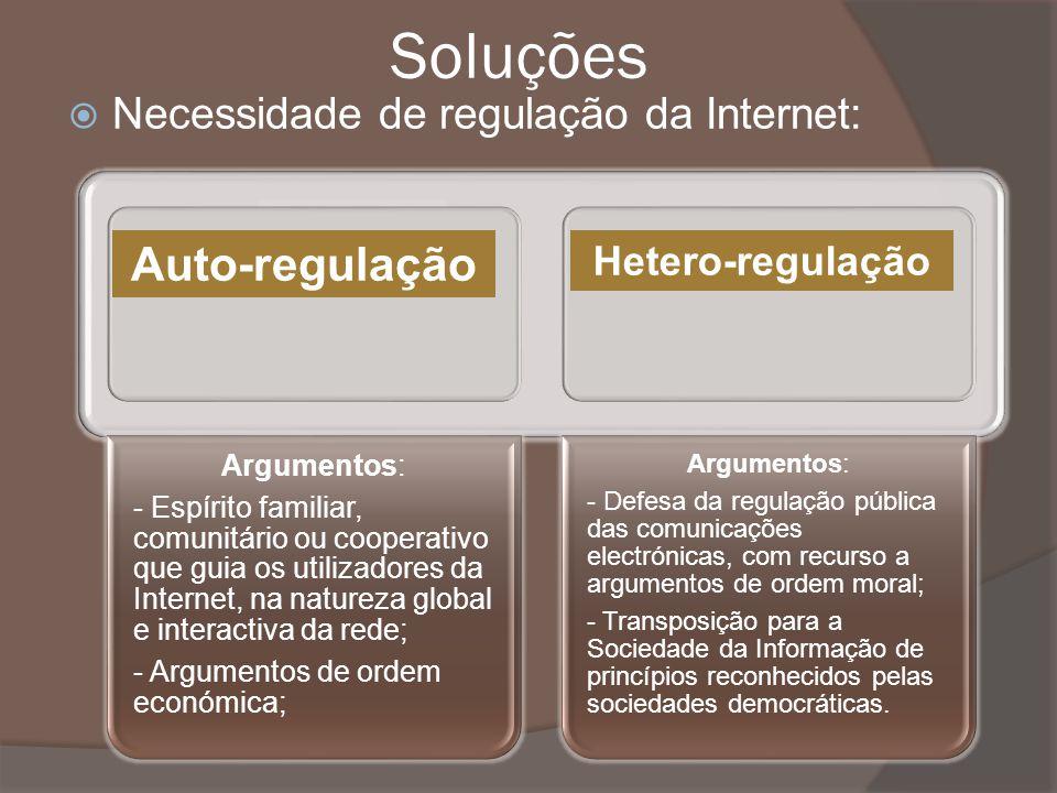 Soluções Necessidade de regulação da Internet: Argumentos: - Espírito familiar, comunitário ou cooperativo que guia os utilizadores da Internet, na na