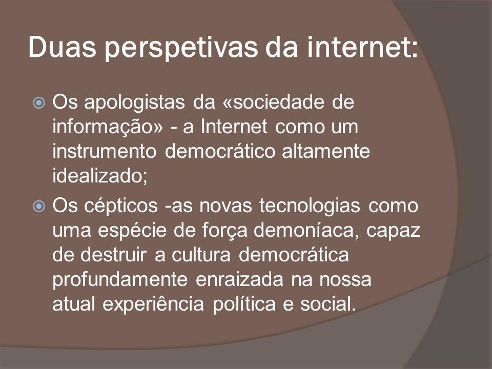 Duas perspetivas da internet: Os apologistas da «sociedade de informação» - a Internet como um instrumento democrático altamente idealizado; Os céptic