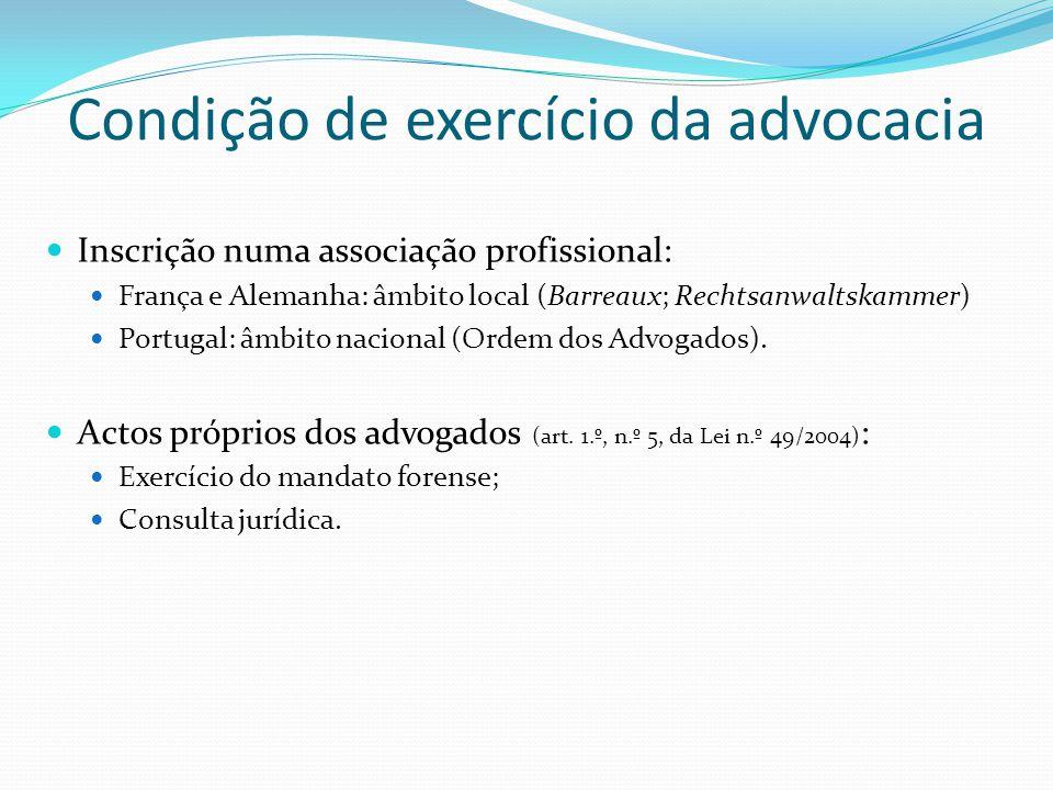 Condição de exercício da advocacia Inscrição numa associação profissional: França e Alemanha: âmbito local (Barreaux; Rechtsanwaltskammer) Portugal: â