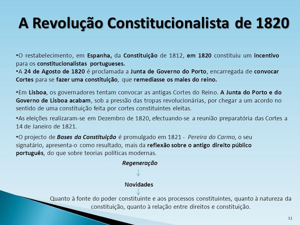 A Revolução Constitucionalista de 1820 As eleições realizaram-se em Dezembro de 1820, efectuando-se a reunião preparatória das Cortes a 14 de Janeiro