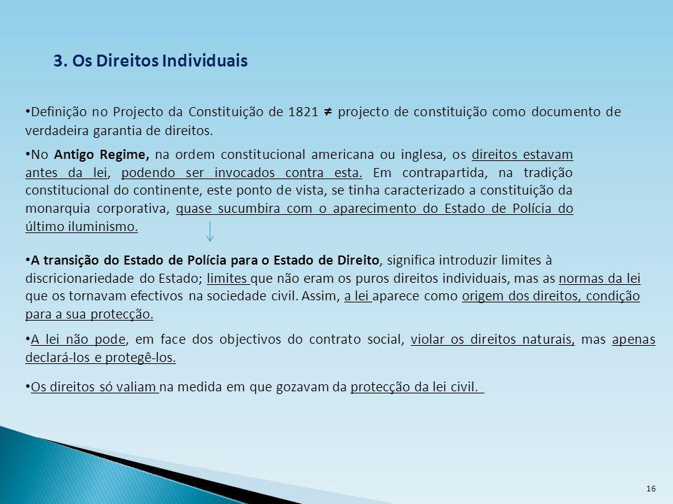 3. Os Direitos Individuais Definição no Projecto da Constituição de 1821 projecto de constituição como documento de verdadeira garantia de direitos. A