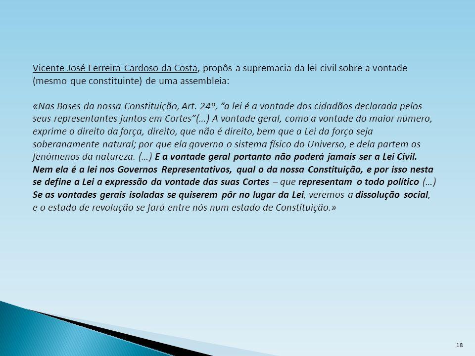 Vicente José Ferreira Cardoso da Costa, propôs a supremacia da lei civil sobre a vontade (mesmo que constituinte) de uma assembleia: «Nas Bases da nos