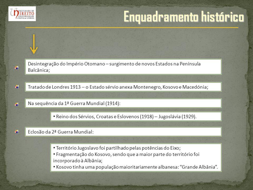 Enquadramento histórico Desintegração do Império Otomano – surgimento de novos Estados na Península Balcânica; Tratado de Londres 1913 – o Estado sérv