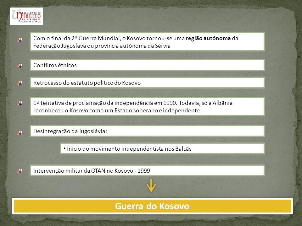 Resolução 1244 do Conselho de Segurança das Nações Unidas Presença civil internacional direccionada à criação de uma administração provisória UNMIKTerritório sob a administração executiva, legislativa e judicial da ONU Início do processo de negociação e revisão do estatuto político do Kosovo, através da apresentação de uma proposta oficial por Martti Ahtisaari: Plano Ahtisaari em 2007 A comunidade internacional apoiou o Plano Ahtisaari, na perspectiva, segundo o qual o Kosovo devia tornar-se independente com um período de supervisão internacional Reacção Sérvia Parlamento sérvio votou uma moção de condenação contra qualquer tentativa de independência do Kosovo