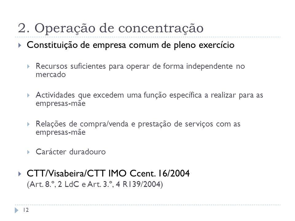 2. Operação de concentração Constituição de empresa comum de pleno exercício Recursos suficientes para operar de forma independente no mercado Activid