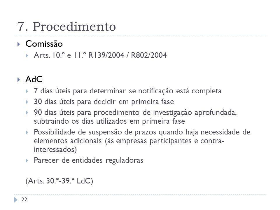 7. Procedimento Comissão Arts. 10.º e 11.º R139/2004 / R802/2004 AdC 7 dias úteis para determinar se notificação está completa 30 dias úteis para deci