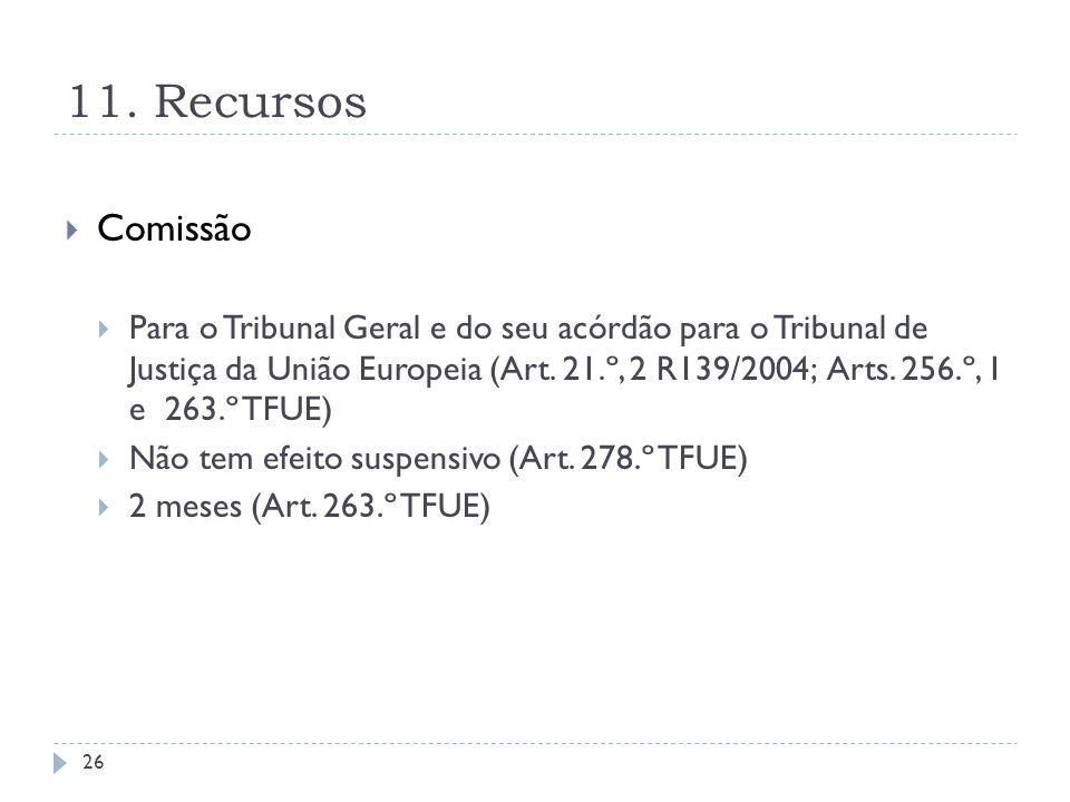 11. Recursos Comissão Para o Tribunal Geral e do seu acórdão para o Tribunal de Justiça da União Europeia (Art. 21.º, 2 R139/2004; Arts. 256.º, 1 e 26