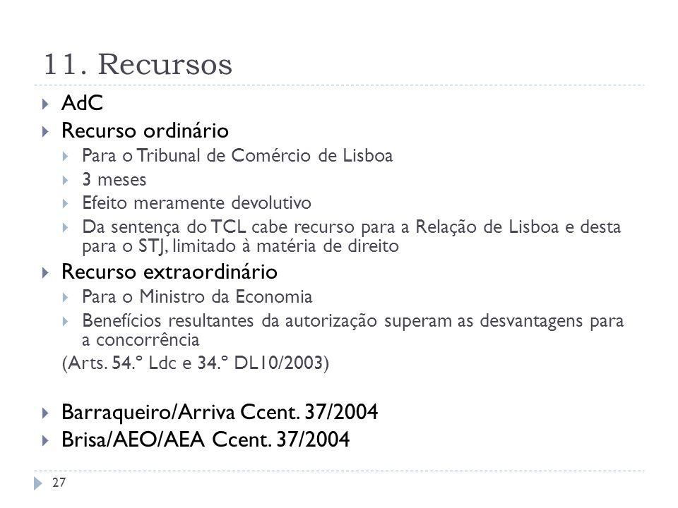 11. Recursos AdC Recurso ordinário Para o Tribunal de Comércio de Lisboa 3 meses Efeito meramente devolutivo Da sentença do TCL cabe recurso para a Re