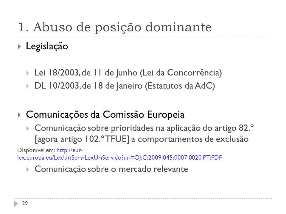 1. Abuso de posição dominante Legislação Lei 18/2003, de 11 de Junho (Lei da Concorrência) DL 10/2003, de 18 de Janeiro (Estatutos da AdC) Comunicaçõe