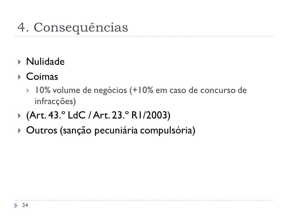 4. Consequências Nulidade Coimas 10% volume de negócios (+10% em caso de concurso de infracções) (Art. 43.º LdC / Art. 23.º R1/2003) Outros (sanção pe