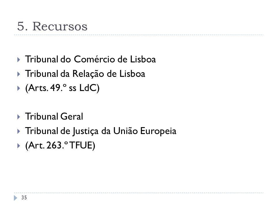 5. Recursos Tribunal do Comércio de Lisboa Tribunal da Relação de Lisboa (Arts. 49.º ss LdC) Tribunal Geral Tribunal de Justiça da União Europeia (Art