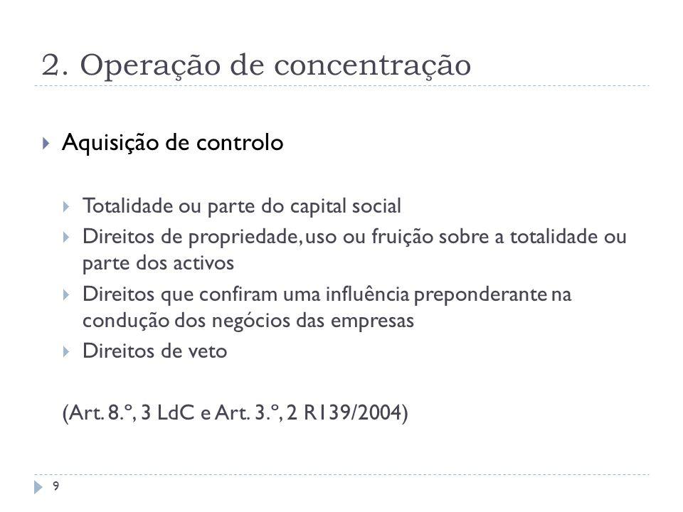 2. Operação de concentração Aquisição de controlo Totalidade ou parte do capital social Direitos de propriedade, uso ou fruição sobre a totalidade ou